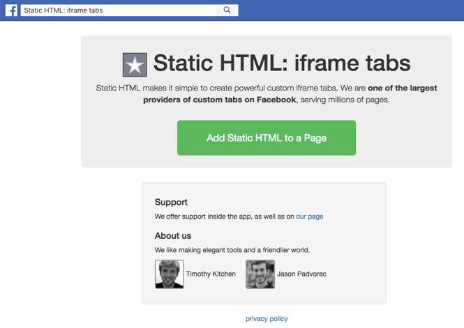 static html iframe tab