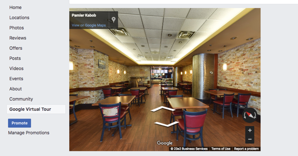 Google Virtual Tour on your Facebook Page