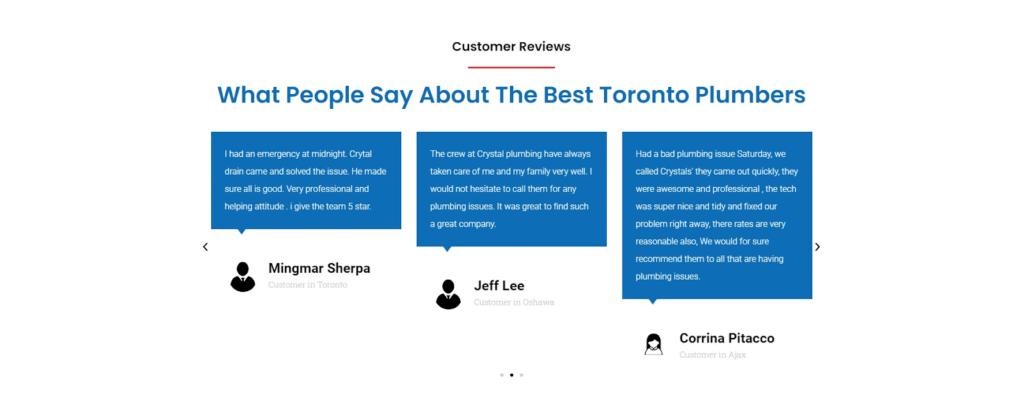 customer testimonials of plumbing business