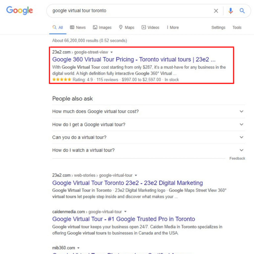 website at the top of the search results with seo