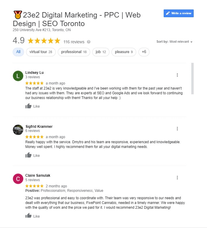 google reviews of 23e2