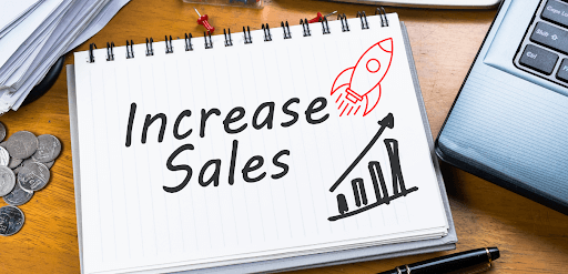 increase sale shown with a rocket ship