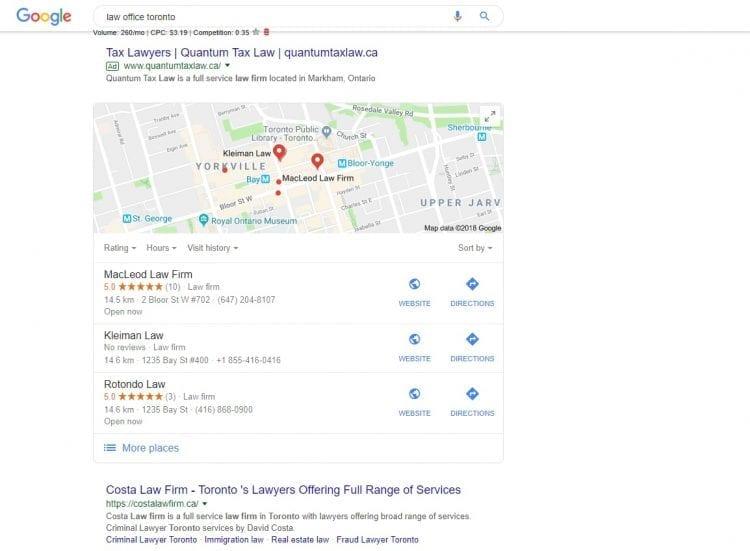 Google map pack