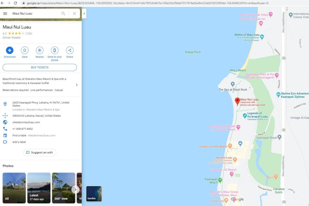 google map menu