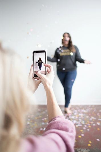 girls filming tik tok video