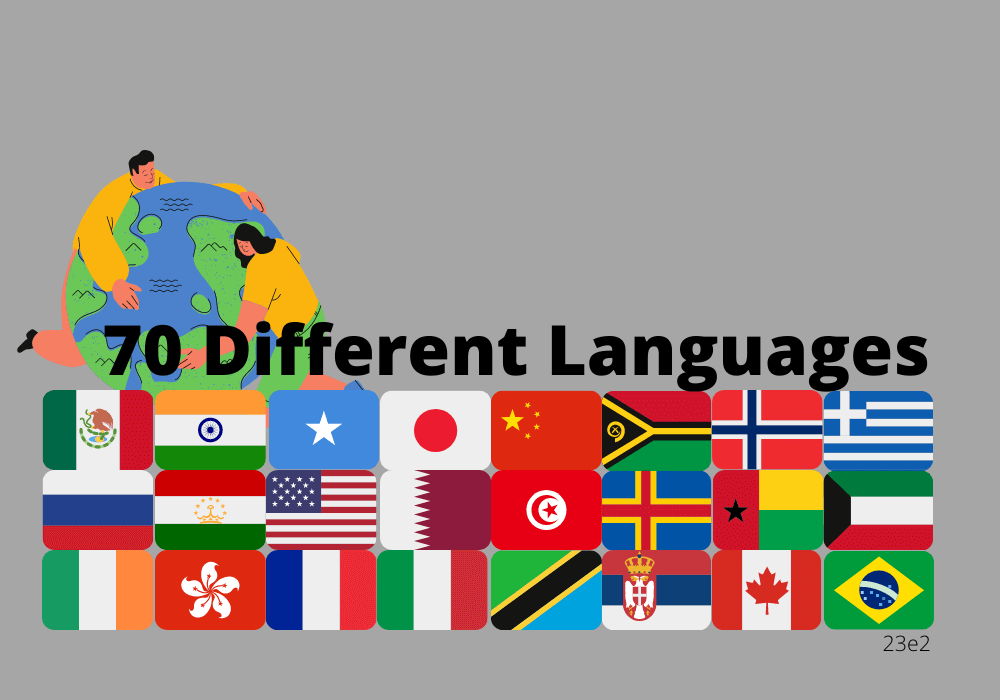 70 different languages spoken in the world