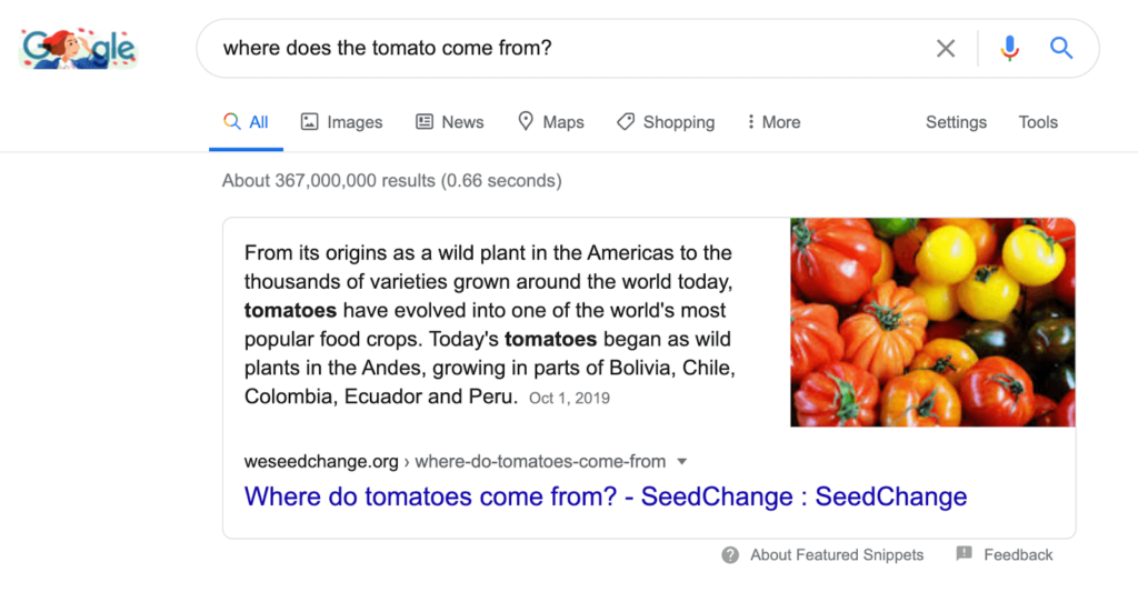 where do tomatoes come from in google search