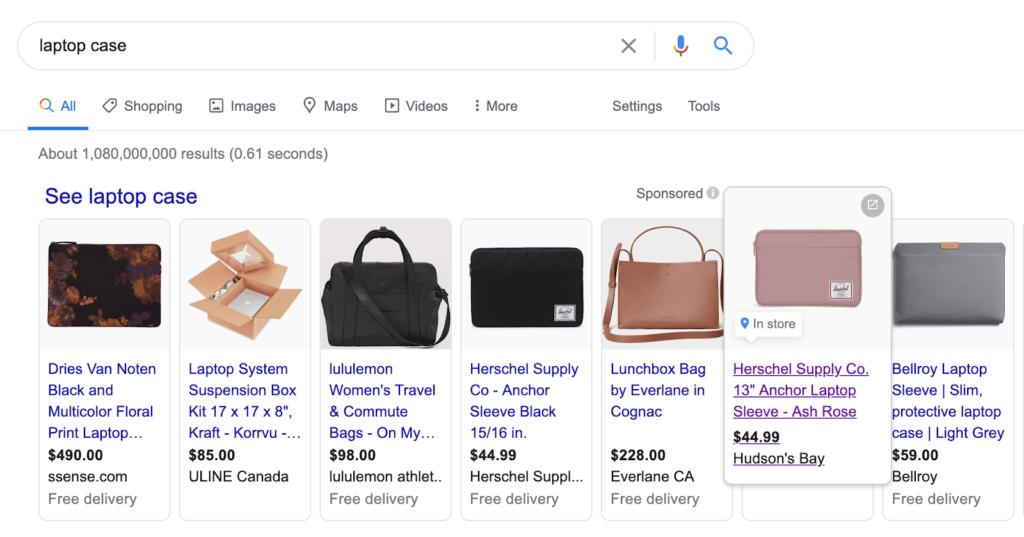google shopping ads on serp