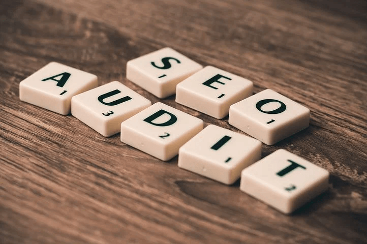 seo audit spelled out with scrabbles