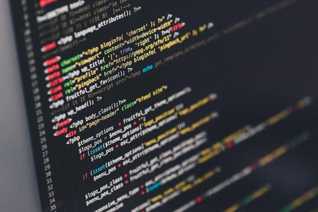 programming language on screen