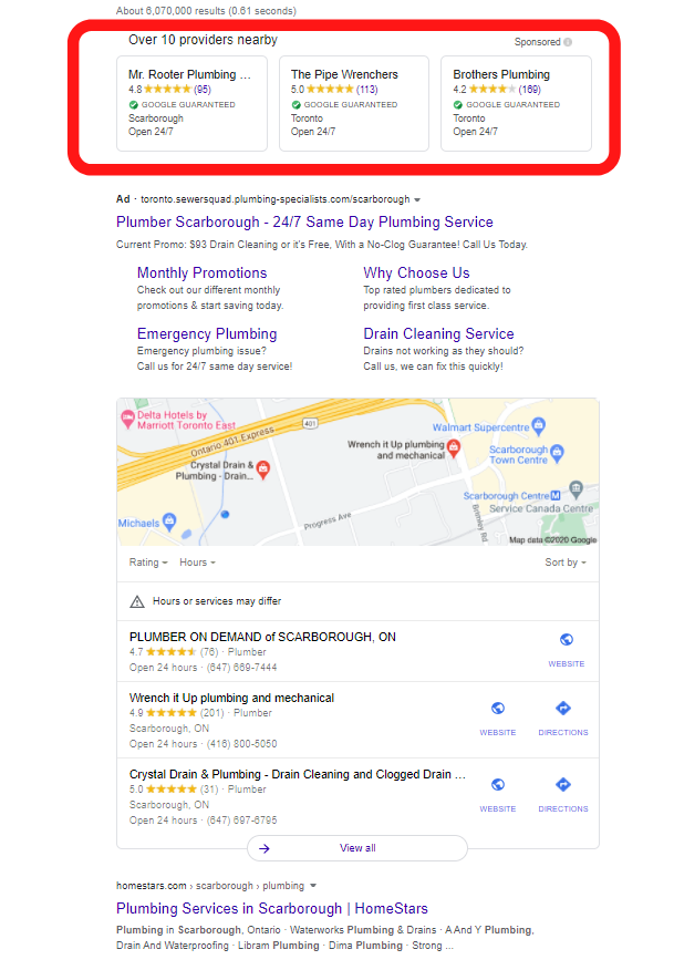 google guaranteed on serp