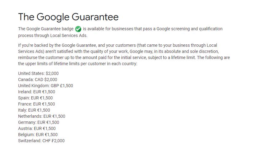 google guaranteed money back policy