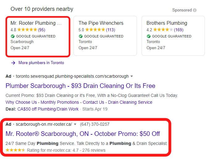 google local services ads placed on the top of serp