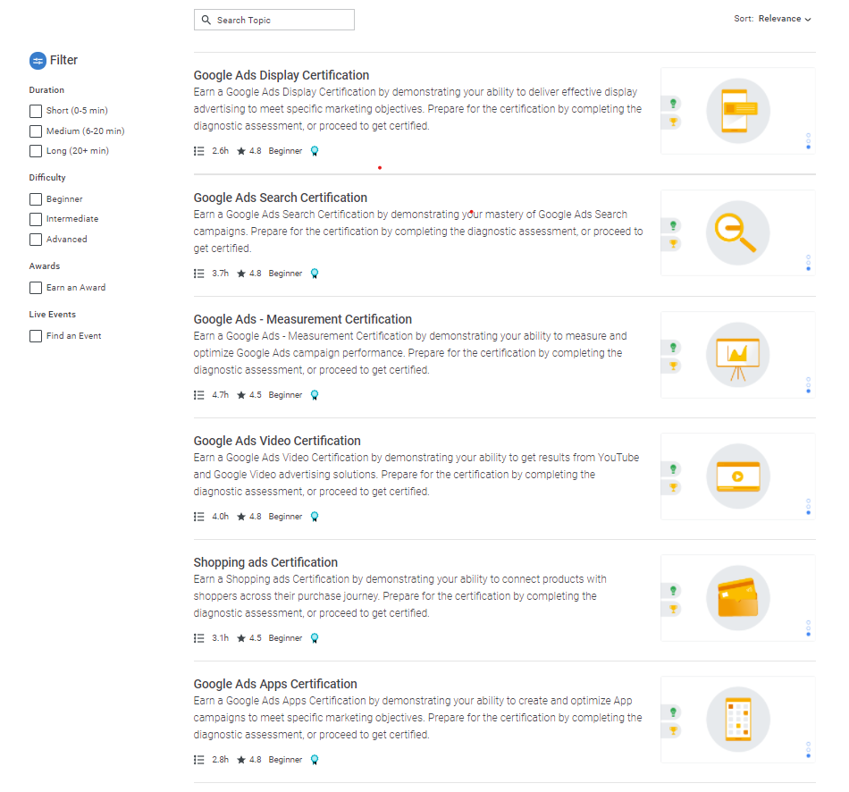 list of all google ads certifications