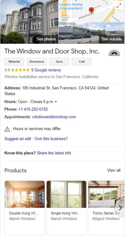 google my business for window and door installers