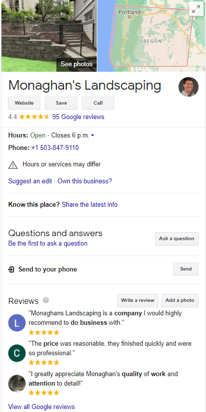 google my business listing for landscaping companies