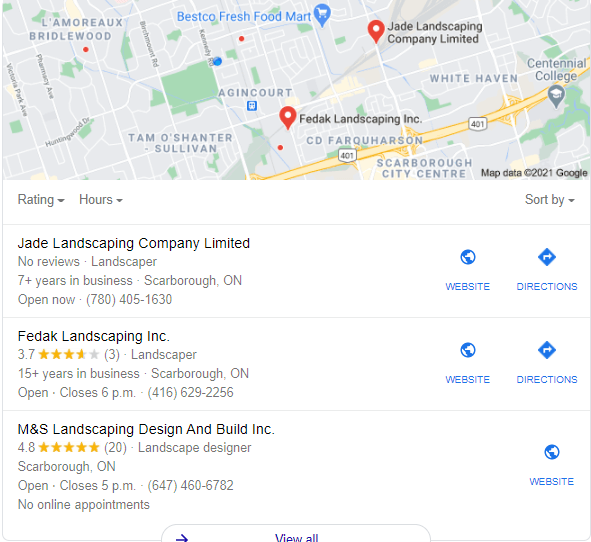 google maps for landscaping companies
