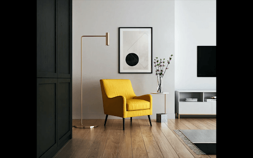 bright yellow chair in modern room