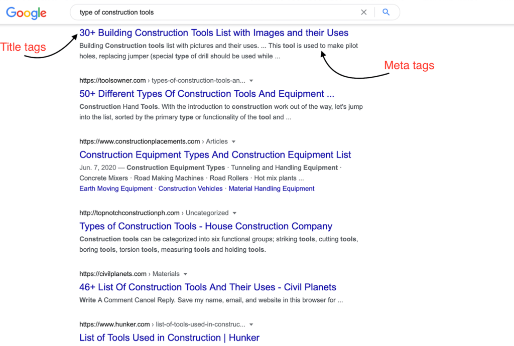 title and meta tags seo for builders