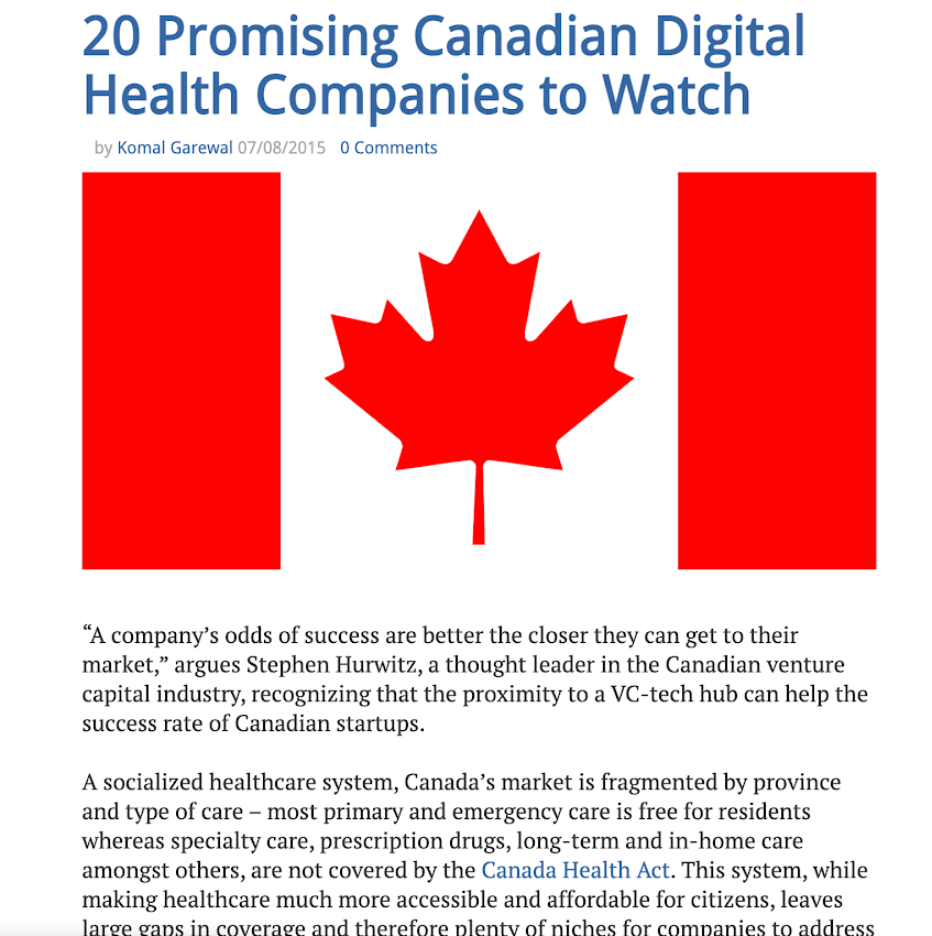 20 promising Canadian digital health companies