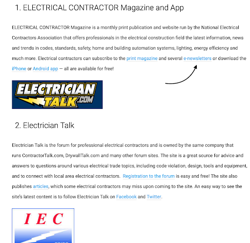 seo backlinks for electricians